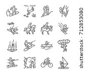 travel activities line icon set.... | Shutterstock .eps vector #712853080