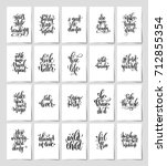 set of 20 black and white hand... | Shutterstock .eps vector #712855354