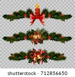 christmas decoration fir holly... | Shutterstock .eps vector #712856650