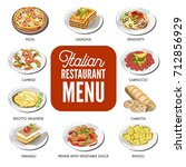 italian food cusine dishes... | Shutterstock .eps vector #712856929