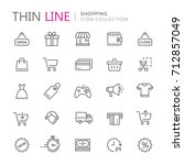 collection of shopping thin... | Shutterstock .eps vector #712857049