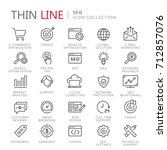 collection of seo thin line... | Shutterstock .eps vector #712857076