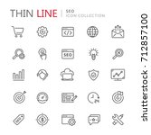collection of seo thin line... | Shutterstock .eps vector #712857100
