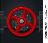 Red Metal Valve. Retro Tool Fo...