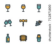 vector flat wine icons set on... | Shutterstock .eps vector #712871800