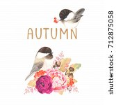 autumn card with birds... | Shutterstock .eps vector #712875058