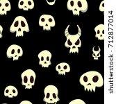 seamless halloween pattern with ... | Shutterstock .eps vector #712877014