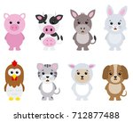 set farm animals isolated with... | Shutterstock .eps vector #712877488