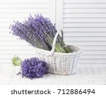 basket with a lavender over... | Shutterstock . vector #712886494