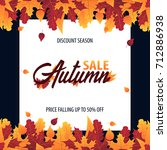 autumn background with leaves... | Shutterstock .eps vector #712886938