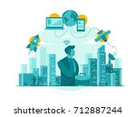 isolated telecommunication... | Shutterstock .eps vector #712887244