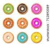 donut cake set isolated on... | Shutterstock . vector #712892089