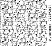 hand drawn cute dog vector... | Shutterstock .eps vector #712893634