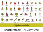 vegetables collection. healthy... | Shutterstock .eps vector #712894990