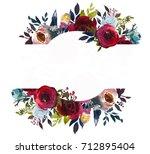 burgundy marsala navy blue... | Shutterstock . vector #712895404