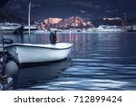 Marine Port With Moored Boat...