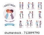 male and female greeting ready... | Shutterstock .eps vector #712899790