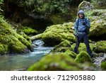 Young Boy Hiker With Backpack...
