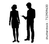 vector silhouettes of girl and... | Shutterstock .eps vector #712909630