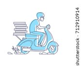 delivery  the guy on the moped... | Shutterstock .eps vector #712910914