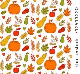 harvest colorful doodle icons... | Shutterstock .eps vector #712911220