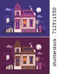 abstract old haunted house... | Shutterstock .eps vector #712911550