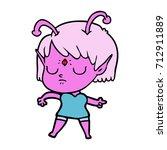 cartoon alien girl   Shutterstock .eps vector #712911889