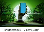 zombie hand holding the phone... | Shutterstock .eps vector #712912384
