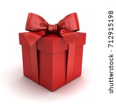 Red Gift Box Or Red Present Bo...