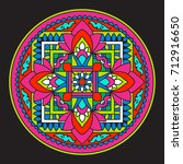 tibet mandala on black... | Shutterstock .eps vector #712916650