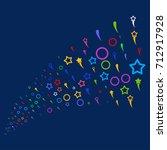 stream of confetti stars icons. ... | Shutterstock . vector #712917928