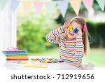 child doing homework for school ...   Shutterstock . vector #712919656