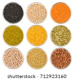 collection of seeds in black... | Shutterstock . vector #712923160