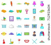 theatre icons set. cartoon... | Shutterstock .eps vector #712923634