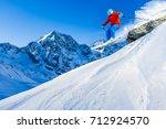 mountaineer backcountry ski... | Shutterstock . vector #712924570
