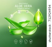 aloe vera serum and collagen... | Shutterstock .eps vector #712924954