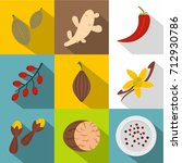 herbs and spices icon set. flat ... | Shutterstock .eps vector #712930786