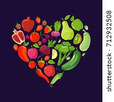 heart shapes with fruits and... | Shutterstock .eps vector #712932508