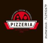 pizzeria vector emblem on... | Shutterstock .eps vector #712932679