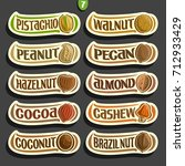 vector set of nuts labels with... | Shutterstock .eps vector #712933429