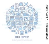 hotel services concept in... | Shutterstock .eps vector #712934359