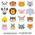 Stock vector set of cartoon animal faces on white baby animals symbols drawing vector illustration 712935109