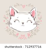 Stock vector hand drawn cat cute cat sketch vector illustration print design children print on t shirt girl 712937716