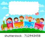 Kids In A Colorful Train With...