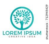 green tree logo design. health... | Shutterstock .eps vector #712945429