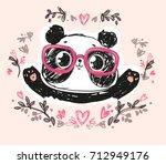 cute panda bear  vector... | Shutterstock .eps vector #712949176