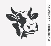 holstein smiling cow portrait... | Shutterstock .eps vector #712953490