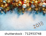 christmas fir tree with... | Shutterstock . vector #712953748