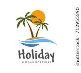 tropical island illustration... | Shutterstock .eps vector #712955290