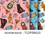 set of seamless textures of...   Shutterstock .eps vector #712958623